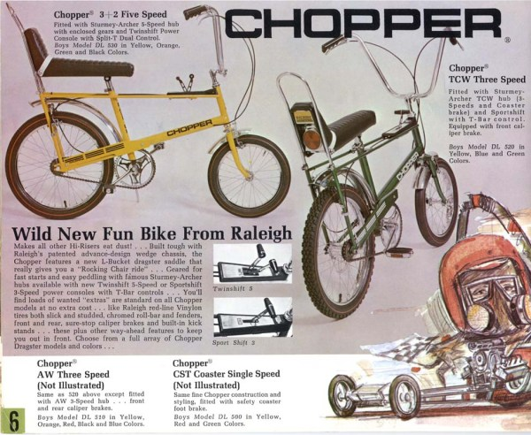 Raleigh Chopper page from the 1969 Raleigh catalog. Courtesy Sheldon Brown / Retro Raleighs