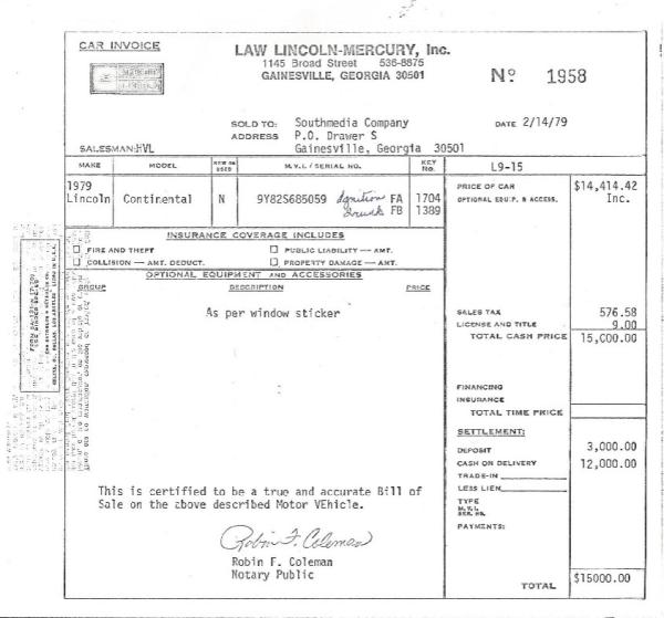 Lincoln 1979 bill of sale