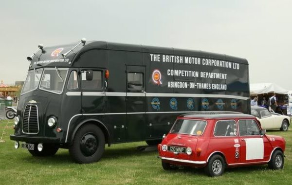 Mini Cooper and support truck