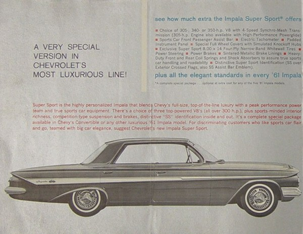 Chevrolet 1961 SS four door brochure