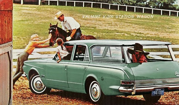 red valiant wagon post card green use