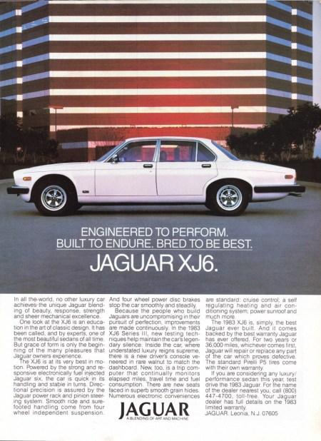 1983 XJ6 Ad R 5-83