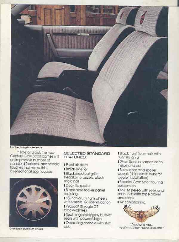 1986 buick century gs interior