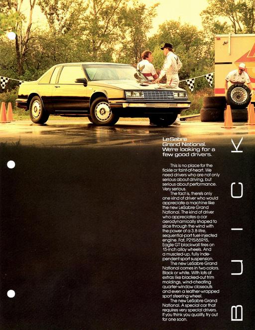 1986 buick lesabre grand national ad