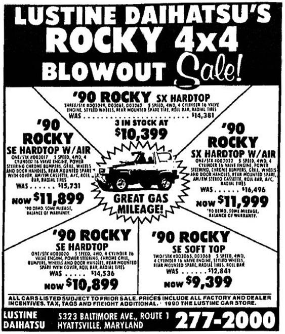 Curbside Classic 1990 Daihatsu Rocky Se