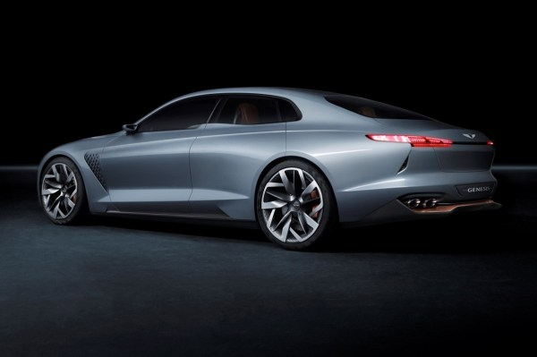 Hyundai 2016 blue Genesis -New-York-Concept-rear-side-view-in-studio