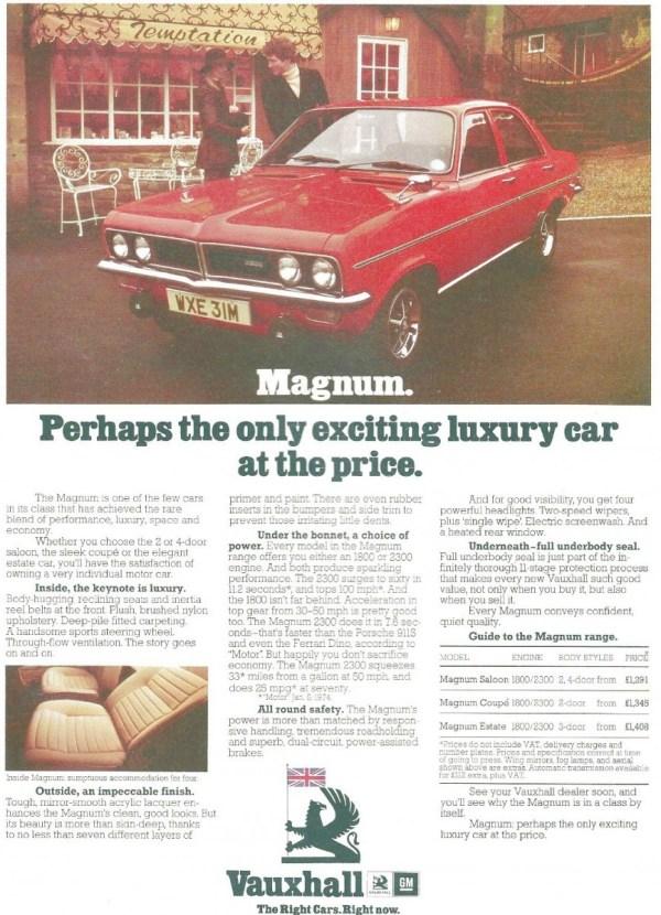 vauxhall magnum ad uk 1973