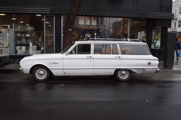 A 1960 Ford Falcon Wagon like the one we used to deliver carpets, pads, and tackless.