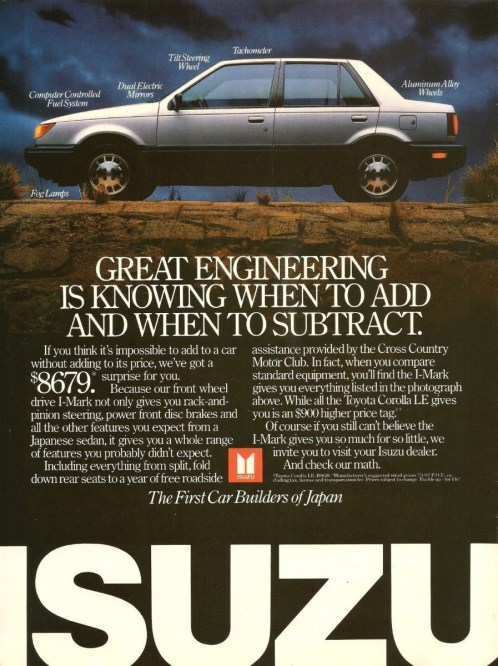 1987 isuzu i-mark ad