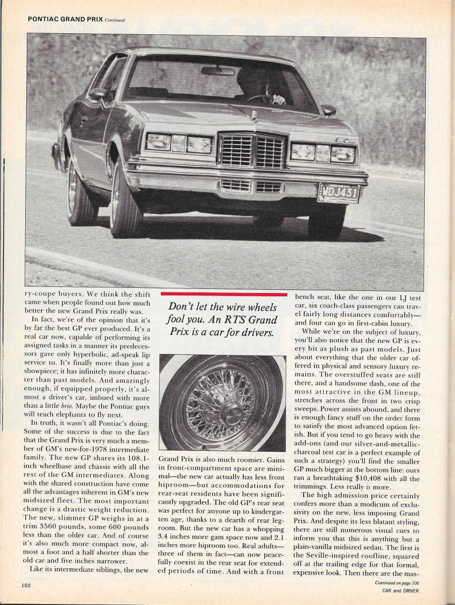 1979 Pontiac Grand Prix : pontiac, grand, Vintage, Review:, Pontiac, Grand, Adding, Options, Makes, Petite, Curbside, Classic