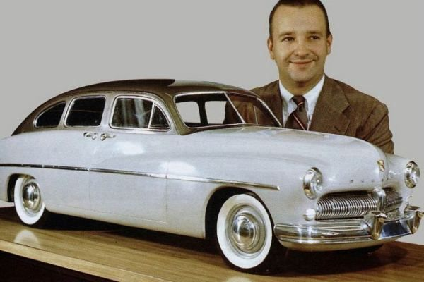 Bob Gregorie and a model of the 1949 Mercury.