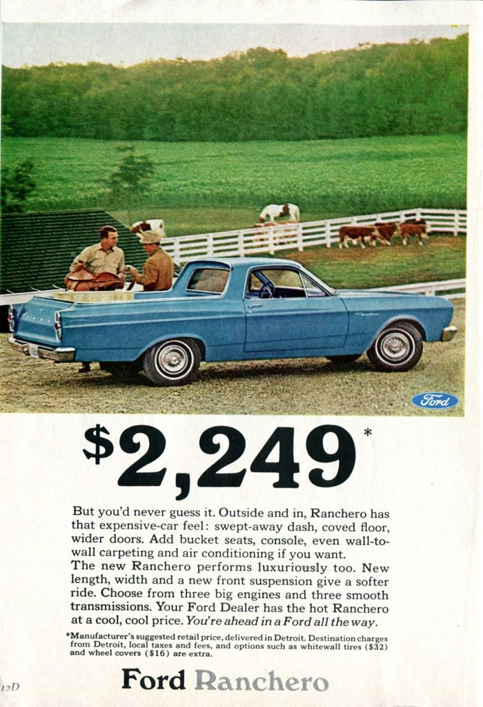 the ranchero wasnt always identified as a falcon although there were often references to its parentage in ads and such not in this 1966 ad though - 1966 Ford Ranchero