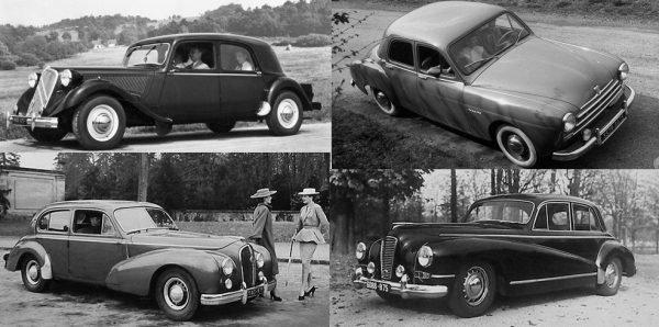 The Vedette's domestic rivals in 1951, clockwise from top-left: Citroën 15-Six; Renault Frégate; Salmson Randonnée; Hotchkiss Anjou.