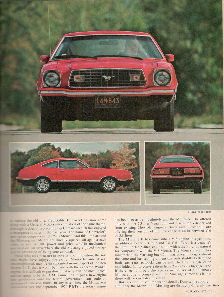 Vintage Comparison 1975 Mustang Ii V8 Vs Chevy Monza 2 The Ford Wiring Diagram Of Course Was Supposed To Be As Radically Different Than Original With A Wankel Rotary Engine But For Number Wise Reasons