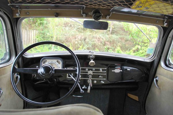 Inside the 15-Six – not exactly luxurious. This 1951-52 car's mirror is incorrect both in type and position.