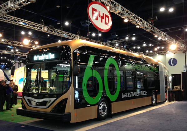 BYD is promising single-charge range of 170 miles for the 100% battery electric, 60-foot articulated bus it unveiled Tuesday at APTA Expo in Houston.