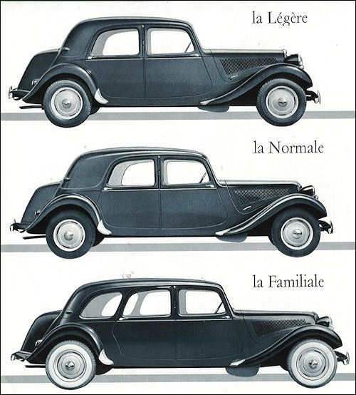 Only the 11 CV was available in all three body variants. Taken from a 1954 brochure.