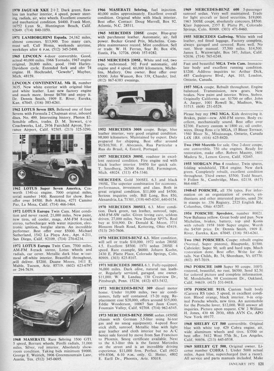 Vintage Classified Ads, Toyota Ads and PS from the January 1975 Road ...