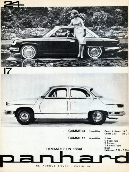 "Panhard's 1963-64 range: the old saloon was now just the ""17."""