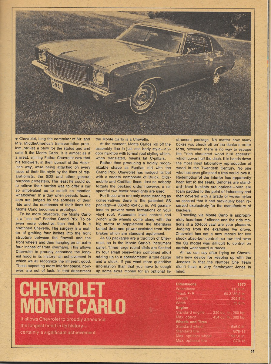 But it really wasn t about performance anymore the monte carlo ss pictured in the ad replete with fender skirts and conservative full wheel covers