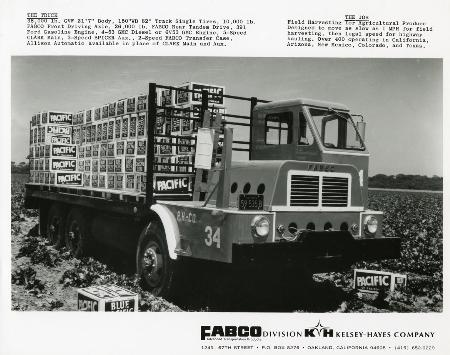 Fabco Lettuce Truck Advertisement. From after 1969 when Fabco was a division of Kelsey-Hayes