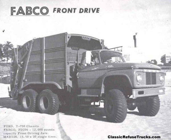 FABCO All Wheel Drive Refuse Truck on Ford Chassis. Rear-loader