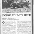 (Another one from the R&T 1975 Buyer's Guide, which are really just reprints from 1974 issues) There wasn't a whole lot to distinguish this Dodge Colt (Mitsubishi Galant) from the […]