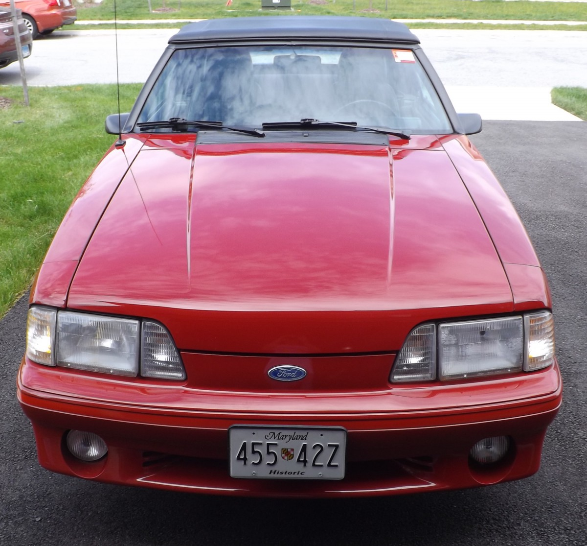 Head on view of 87 mustang gt