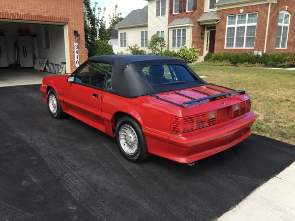 Rear view of 87 Mustang GT convertible