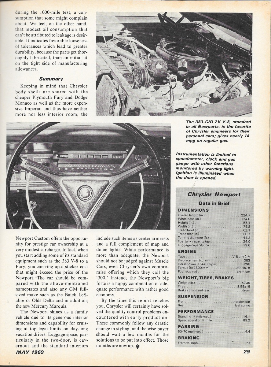 Vintage Review 1969 Chrysler Newport Quite A Lot Of Car 69 Plymouth Fury Radiator There Were No Complaints About The Robust 383 2v V8 Staple That Routinely Delivered Sort Performance Big Buyers Expected At Time