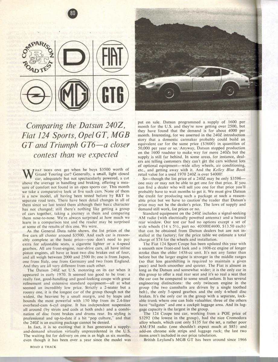 Opel GT & Datsun 240Z in The $3500 GT Comparison Test  Road