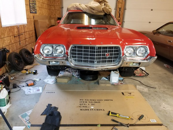 1972 Ford Torino grille and bumper installed