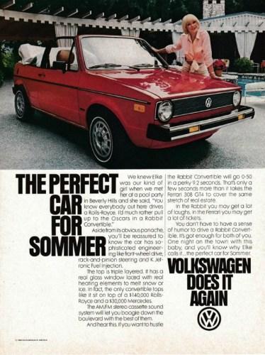 1981 Volkswagen Rabbit convertible print ad featuring Elke Sommer