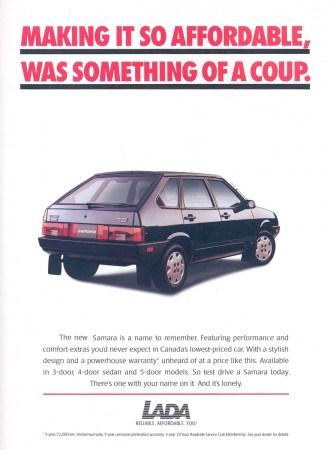 1995 Lada Samara brochure Canada