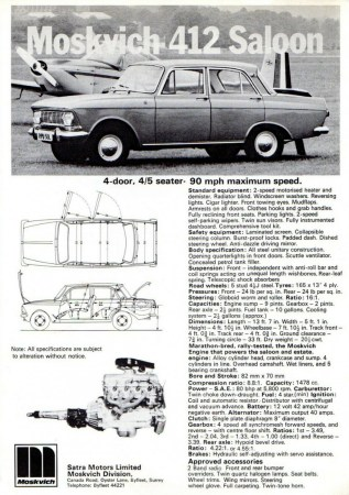 Moskvich 412 Saloon brochure UK