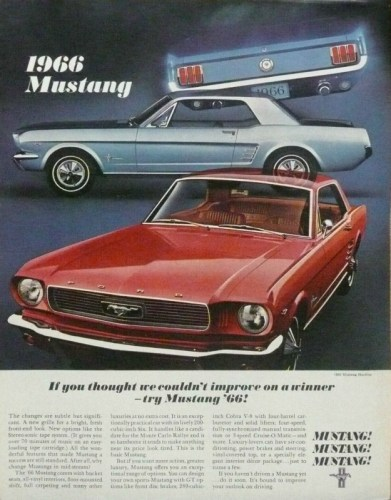 1966 Ford Mustang print ad, courtesy of the internet.