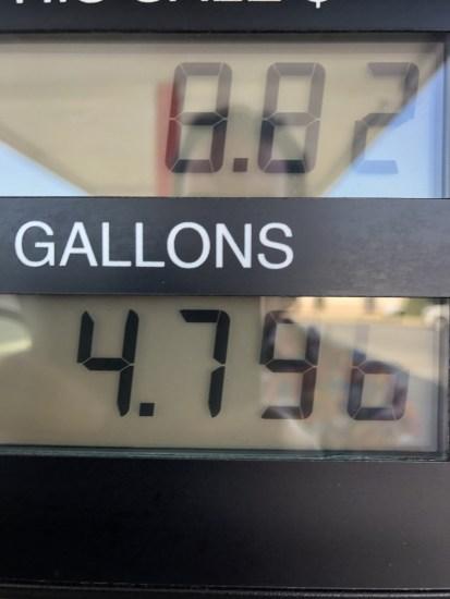 a gas pump readout