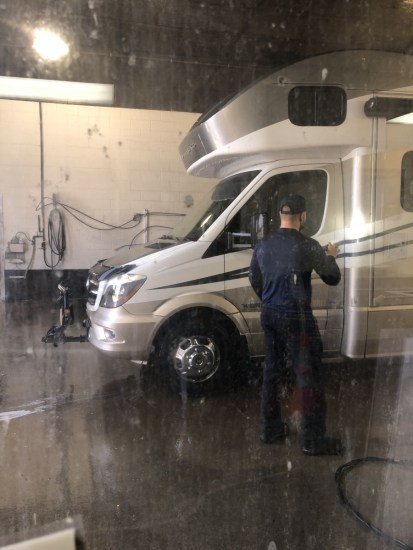 An RV in a truck wash day