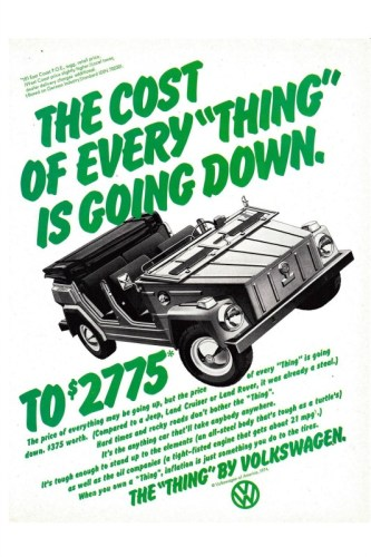 1974 VW Thing print ad, as sourced from the internet.