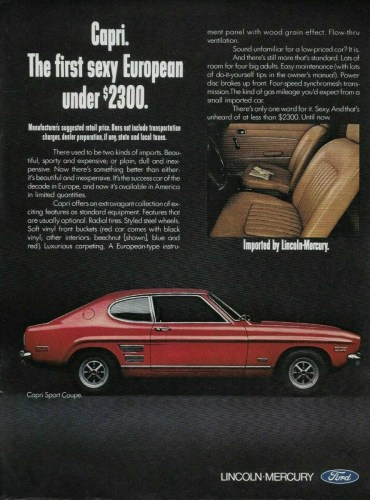 1971 Ford Capri print ad, as sourced from the internet.