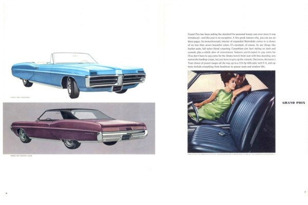 1967 Pontiac Grand Prix brochure pages, courtesy of www.oldcarbrochures.com