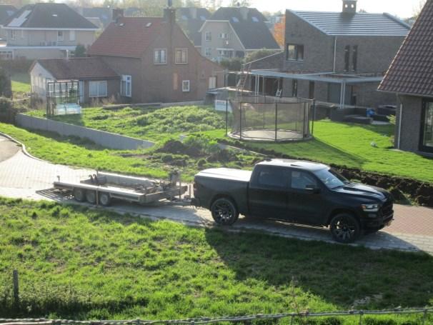 Ram 1500 and tridem axle trailer