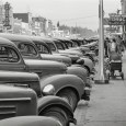 Main Street, Twin Falls, Idaho, 1941, and all the cars are the same height. And shape. Here's the view from the other direction; lots more of the same: