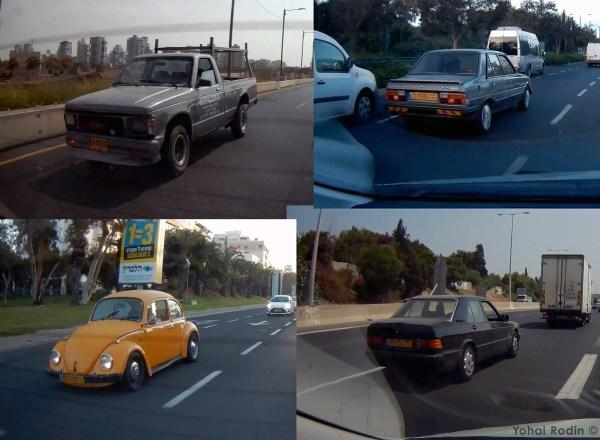 Grey GMC Sonoma, Gray Peugeot 305, Yellow VW Beetle, Black Mercedes-Benz W124