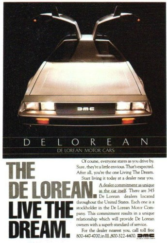 1981 DeLorean DMC-12 print ad, as sourced from the internet.
