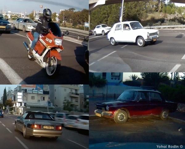Red Kawasaki ZX-10, White Simca 1100, Grey Mercedes-Benz R107 300 SL, Maroon Simca 1501