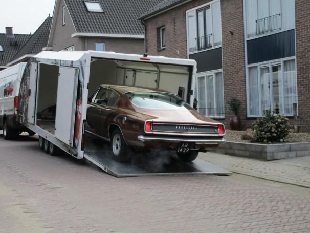 1969 Plymouth Barracuda rolls into trailer