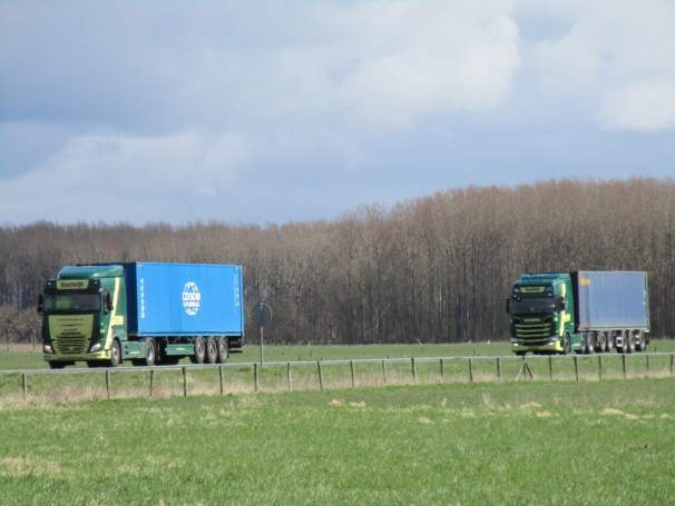 DAF and Scania - hauling shipping containers