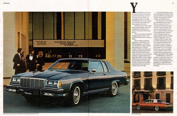1982 Buick Electra brochure photo, as sourced from www.oldcarbrochures.com.