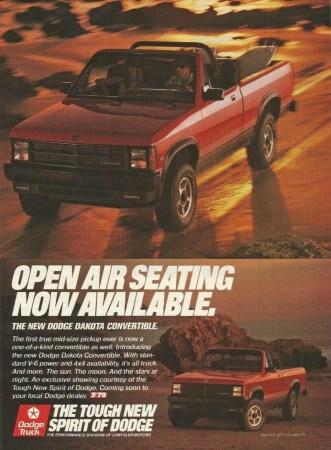 1989 Dodge Dakota Sport Convertible ad